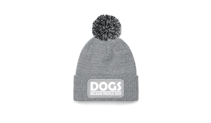 """Mütze mit Bommel """"DOGS BECAUSE PEOPLE SUCK"""" 2"""